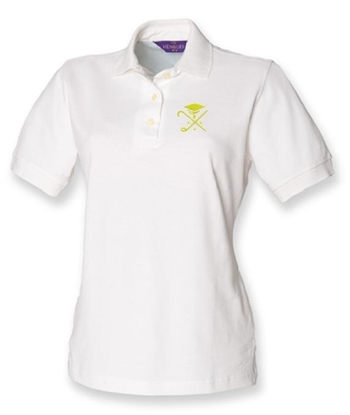 Picture of Pedagogues Golf Society Ladies White Cotton Polo