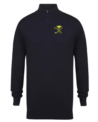 Picture of Pedagogues Golf Society Unisex 1/4 Zip Navy Sweatshirt