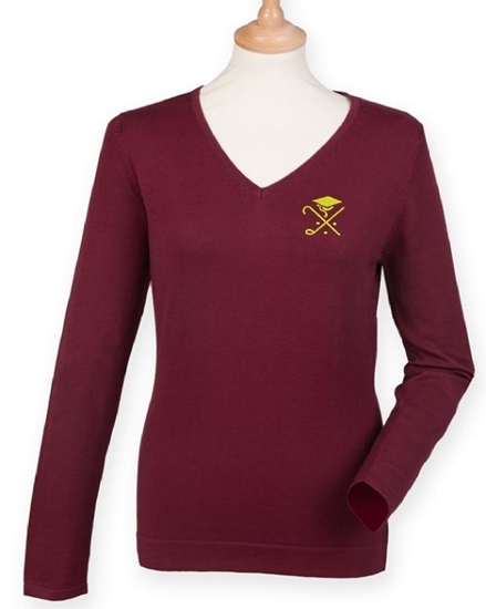 Picture of Pedagogues Golf Society Ladies Burgundy  LS Jumper
