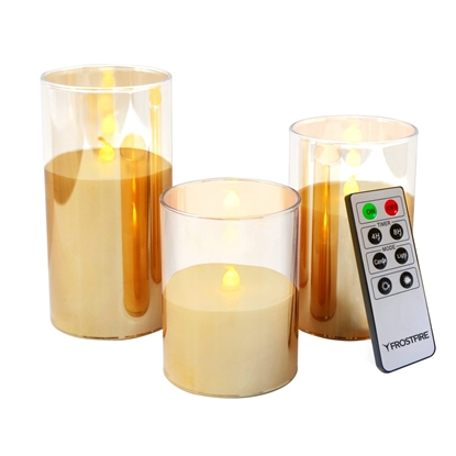 Picture of Mooncandles Flameless Clear Glass & Wax Candles with Timer and RC