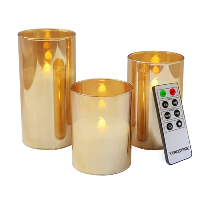 Picture of Mooncandles Flameless Gold Glass & Wax Candles with Timer and RC